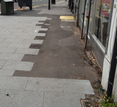 """... and the reality. This is one area of paving left after the """"transformational"""" work in South End last year"""