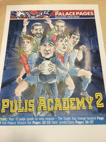 Whoops: a terrible, lame pun, and a cartoon featuring Pulis as Crystal Palace boss is the cover of the football pull-out in the Dorking-based Croydon Sadvertiser today