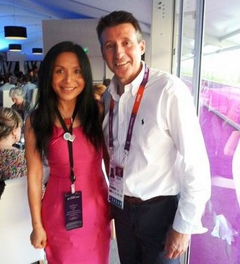 Lord Coe and Lady Xuelin Bates at the London Olympics in 2012. She has since staged lobbying events on behalf of ZhongRong
