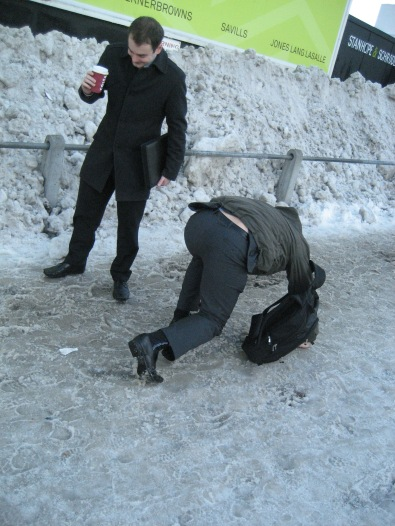 Commuters risk serious injury on ice outside East Croydon Station during the winter of 2009-2010. Might something similar be in store this winter?