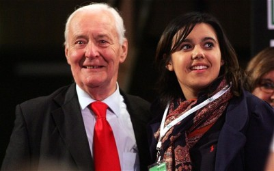Tony Benn, the national treasure who died in 2014, and his grand daughter, Emily, who does not espouse his Bennite principles