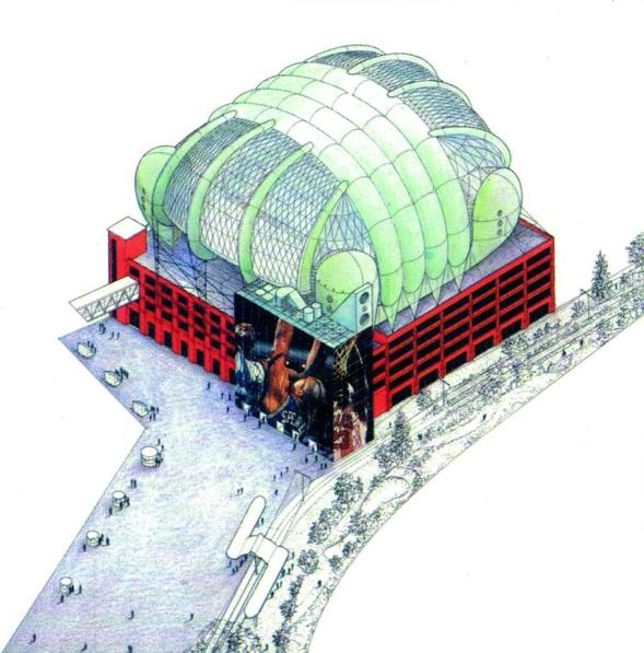 Croydromia: one of the architects' futuristic drawings for the exhibition, with inflatable buildings on top of the multi-storey car parks