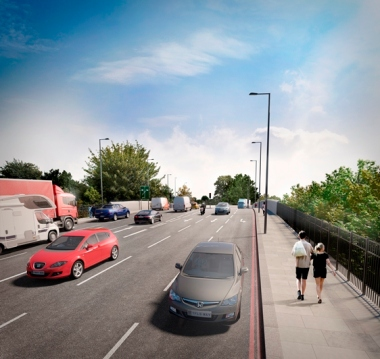 "The proposed bridge at Waddon Station. Count the lanes of traffic. Play ""Spot the Cycle Lane"""