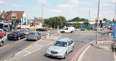 TfL's picture of the existing cross-roads between the A232 and A23 at Waddon station