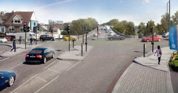 The TfL artist's impression of the Croydon Road junction with the A23. Traffic from the Purley Way appears to have been air-brushed out of existence, as the cross roads remains with the bridge the other side of the A23