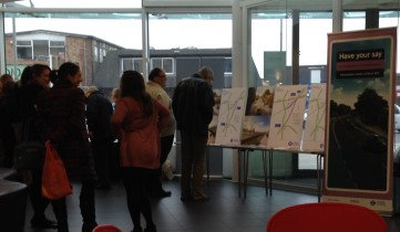 A couple of tables, a couple of pull-up banners, and that's your typical public consultation, 2015 style
