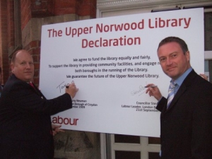 Tony Newman and Steve Reed sign their pretentious Upper Norwood Library Declaration that promised to guarantee its future. It lasted barely eight months