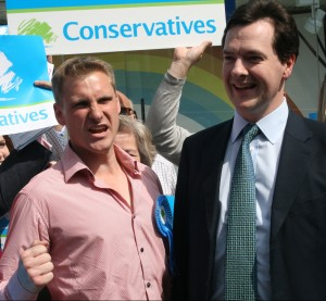 The acceptable face of Conservate business? Chris Philp, left, out campaigning with Gideon Osborne