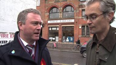 Steve Reed on the campaign trail in 2012 speaks with Upper Norwood Library Trust co-chair Robert Gibson. We confidently predict Reed won't be returning there between now and May
