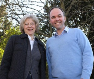 Croydon Tory Gavin Barwell with the Conservatives' Home Secretary Theresa May: Barwell is desperate to try to outflank UKIP, says Andrew Fisher