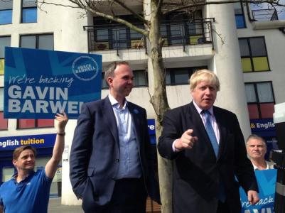 Don't mention the Tories: an absence of any mention of the C word was noticeable around Barwell's campaign once again