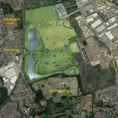 Viridor's aerial picture of the area shows how close the waste incinerator will be to Hackbridge and Beddington Park, as well as residential areas and schools