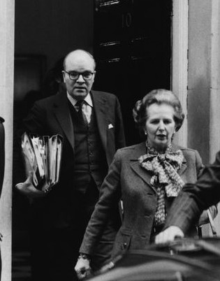 Housing minister Ian Gow leaves Downing Street with Thatcher. Gow's son, Charles, now owns more than 40 former council homes