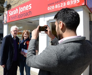 Christian Wolmar poses for a campaign picure with Sarah Jones on his visit to Croydon this week