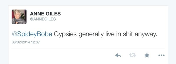 The tweet from Anne Piles to her husband last year. Classy, eh?