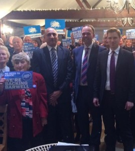 """Anne Piles, front left, """"Backing Barwell"""" at the start of the election campaign with Croydon's three Tory parliamentary candidates - Vidhi Mohan (North), Barwell and Chris Philp (South)"""