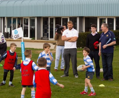 The next generation: England captain Chris Robshaw, together with Warlingham's first XV manager Peter Wrightson, watch over a minis' training session