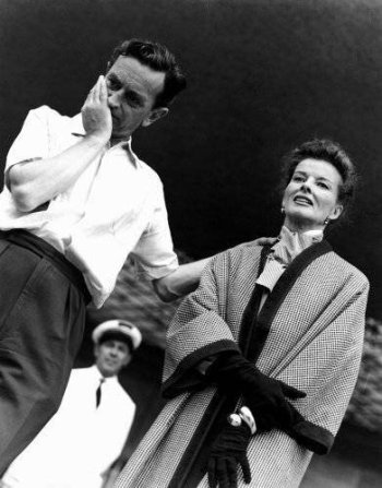 Director David Lean with his star, Katharine Hepburn, on location for Summer Madness in Venice in 1955
