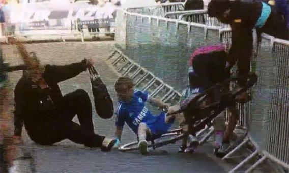 A screen grab from the video, no longer publicly available, of the crash at Tuesday night's Croydon bike race