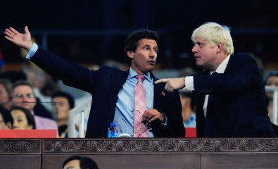 London Mayor Boris Johnson points out to Seb Coe which bits of Crystal Palace he wants to be demolished. Apparently