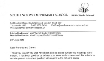 The letter sent out to parents and guardians of pupils at South Norwood Primary yesterday