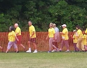 The many charity walkers raising funds for the Brenda Kirby Cancer Care Centre included Steve O'Connell (centre of shot, in shorts)