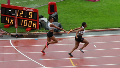 One of Croydon Harriers' relay squad in action in the Olympic Stadium last Friday