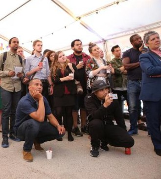 Boxed in: Jo Negrini, Croydon's planning chief, among the rapt audience at last night's Boxpark launch