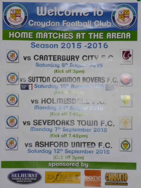 Croydon FC fixtures