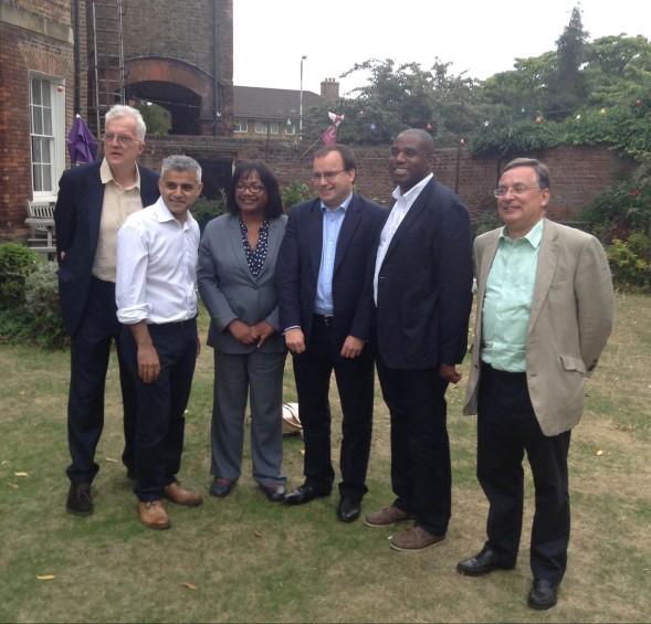 Labour's Mayoral candidates in Croydon last night: from left, Christian Wolmar, Sadiq Khan, Diane Abbott, Gareth Thomas, David Lammy and Dame Tessa Jowell (played by Andrew Dismore)