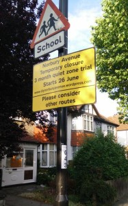 Sign of the times: except the Norbury Avenue closure has been abandoned before schools return for their autumn term