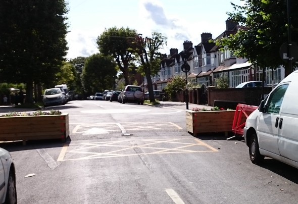 The Quietway along Norbury Avenue has been abandoned, with the central bollards removed. Photo by Angus Hewlett