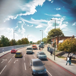 "A TfL generated image of how the widened Epsom Road might look if ""Plan B"" is adopted"