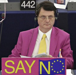 UKIP MEP Gerard Batten: getting the message from Fairfield Halls today