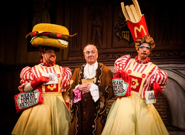 Gruesome twosome: The Ugly Sisters in this year's Cinderella, Stewart Wright and Matt Daines, with Richard Walsh as Baron Hardup,  Picture by Frazer Ashford