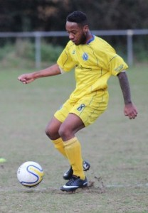On target: Croydon FC striker Karl Doughlin