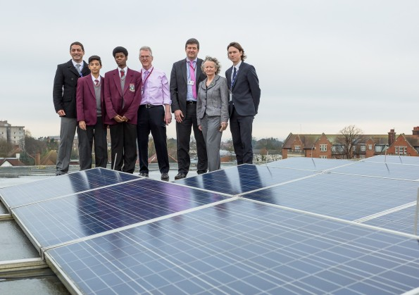London Aseembly Member Jenny Jones, second right, with staff and pupils at St Joseph's College this morning, where solar power is supplementing the education budget