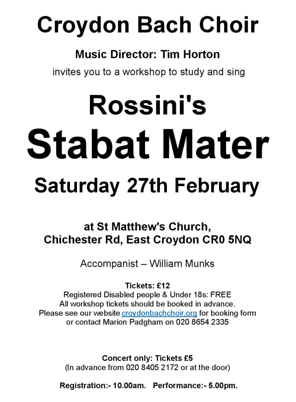 Croydon Bach Choir Rossini Poster