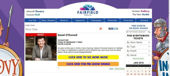 How the Fairfield Halls is marketing a concert that is scheduled for two months