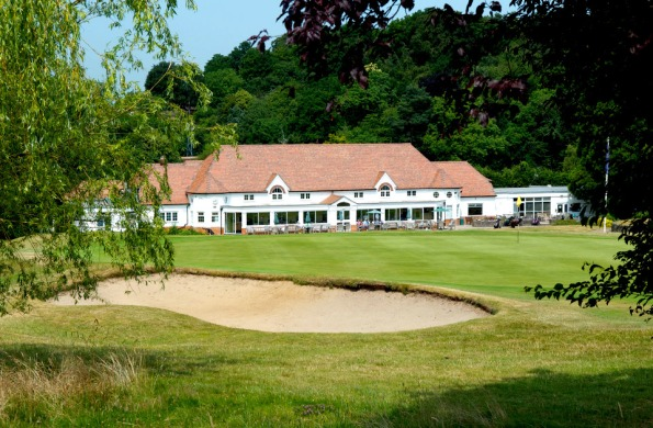 A view of the Croham Hurst Golf Club's clubhouse from the 10th hole