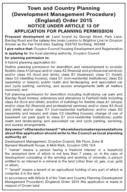 The formal planning notice for the Fairfield Halls and College Green redevelopment, as it appeared in this week's Croydon Guardian