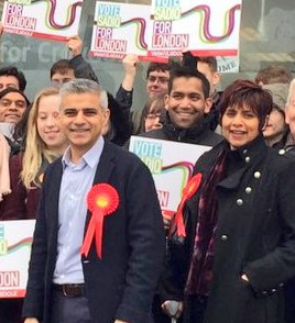 Marina Ahmad campaigning in Croydon earlier this month with Labour's candidate for Mayor, Sadiq Khan