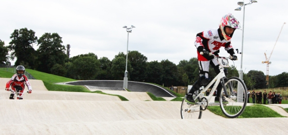BMX racing is a fast-paced exciting young sport, as these riders on the track in Burgess Park in Southwark show