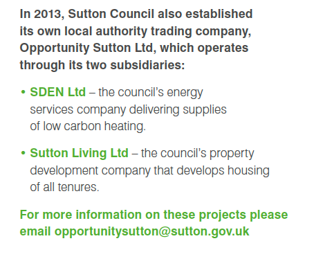 How Sutton's publicity bumpf misled about the existence of the companies it was setting up to manage the district heat network scheme