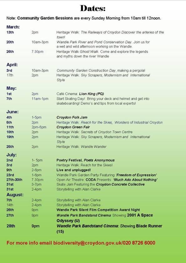 Wandle Park revised dates