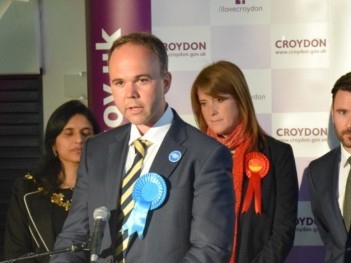 Gavin Barwell gives his ill-prepared speech at the election declaration, with the defeated Labour candidate, Sarah Jones, left to reflect on the 165 votes