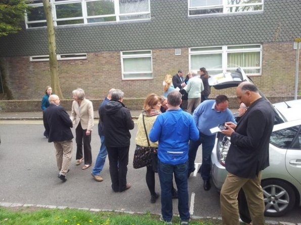 Gavin Barwell digs deep (into the boot of a car for leaflets) with a top team of Tory activists. Note on the right of the picture is Vidhi Mohan, supposed the Conservative candidate in Croydon North, but busy helping out Barwell in marginal Croydon central