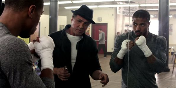 Sylvester Stallone reprises his Rocky character for Creed, alongside Michael B Jordan as the new contender