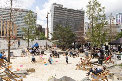 "Croydon's ""beach"", or the Croydon Ashtray, last summer"
