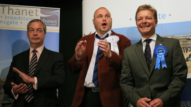 The Thanet South election declaration last May, with Nigel Farage (left), a clearly shocked Al Murray and Tory Craig Mackinlay. Mackinlay also played a part in the Croydon Central election